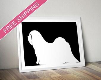 Lhasa Apso Print - Lhasa Apso Silhouette - Lhasa Apso art, dog portrait