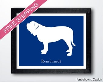 Personalized Neapolitan Mastiff Silhouette Print with Custom Name - Neapolitan Mastiff art, dog portrait, dog gift, modern dog home decor