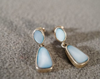 Vintage Sterling Silver Oval Blue Mother Of Pearl Dangle Style Pierced Earrings #400 **RL