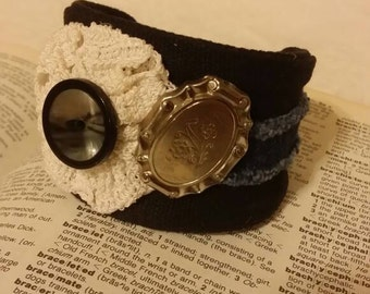 Blue Jean and button Black Cuff bracelet