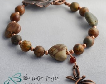 Jasper Dragonfly Copper Bracelet, Gemstone Copper Bracelet, Dragonfly Jewelry, Bohemian Copper Bracelet, Bohemian Jewelry, Copper Bracelet