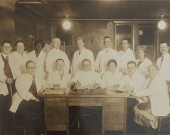 Original 1920's Doctors Office Medical Staff 10 x 8 Photograph - Free Shipping