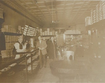 Vintage 1910's Hat Store 10 x * Sepia Photogragh - Free Shipping