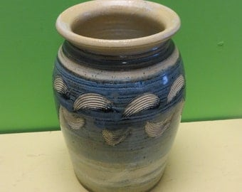 Original Joe Chomyn Signed Hand Thrown Blue Glaze Pottery Vase - Free Shipping