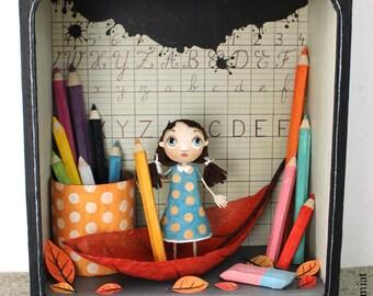 "Box window ""Récréation"", ORIGINAL illustration ""Récréation"" ANATOPIK OOAK doll"