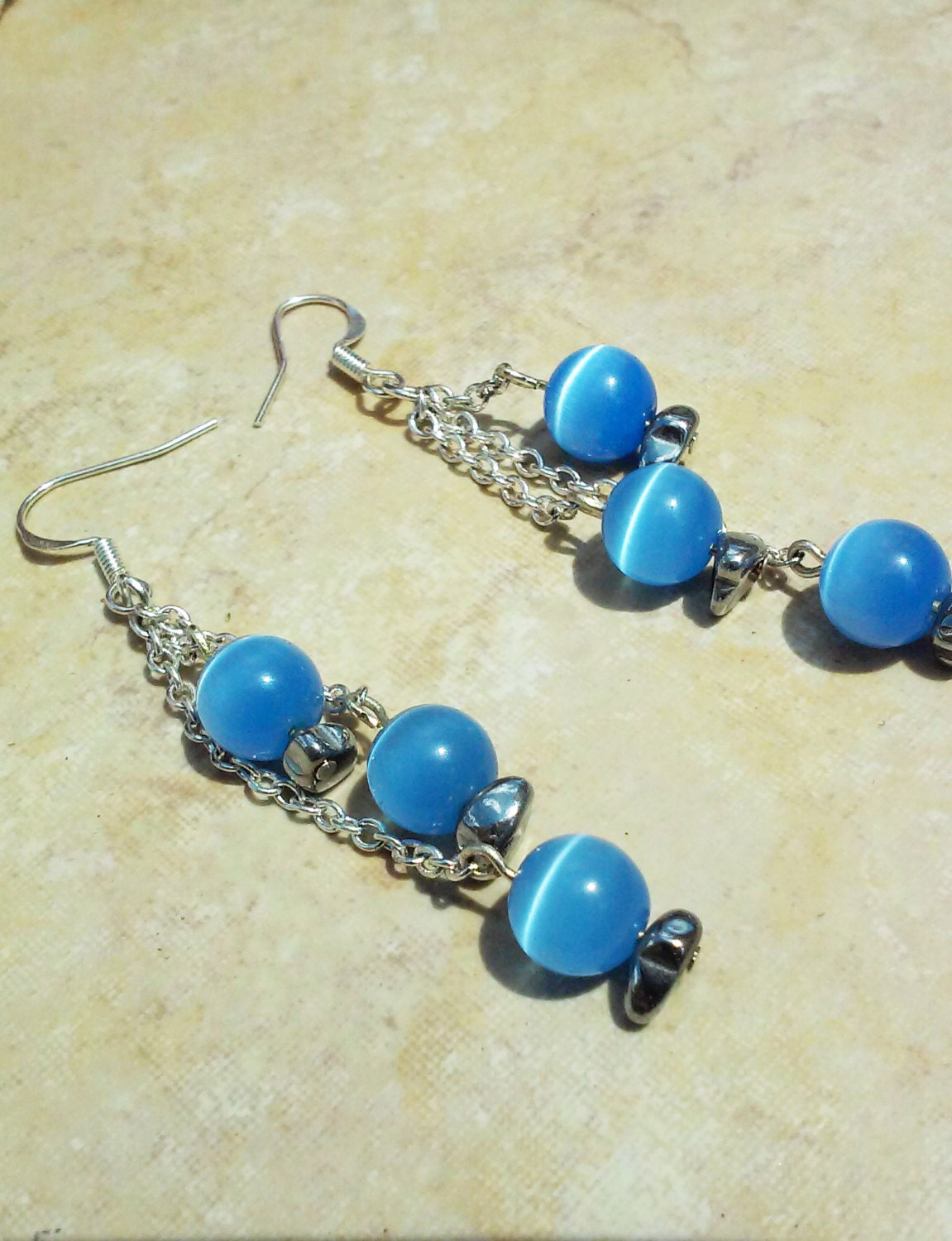 Blue Moonstone Earrings...Moonstone Earrings...Sterling silver
