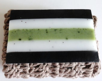 Bamboo Lime Handmade Artisan Soap with Shea Butter, Argan Oil and Activated Bamboo Charcoal, Facial and Body Soap 4oz