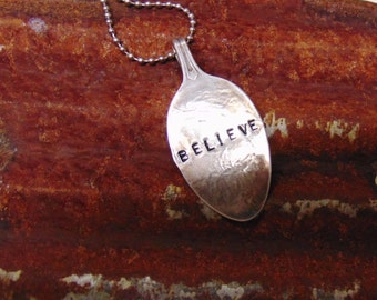 Necklace Spoon Handcrafted Vintage Believe Jewelry Faith #702