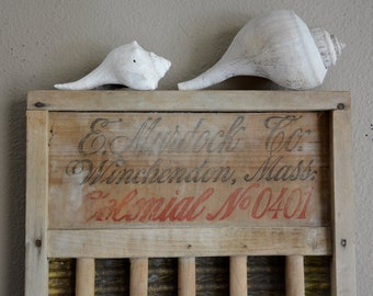 Antique Washboard, 1800's Washboard, E. Murdock Co. Washboard, Antique Advertising