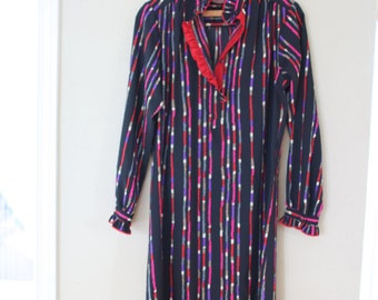 vintage black & red striped edwardian collar secretary shirt dress *