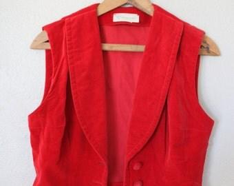 vintage red velvet tuxedo vest