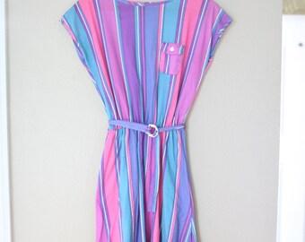 vintage 1980s rainbow stripe belted dress
