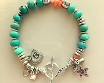 Chrysoprase, Hill Tribe Fine Silver, and Natural Coral Bracelet With Stars, and Hearts