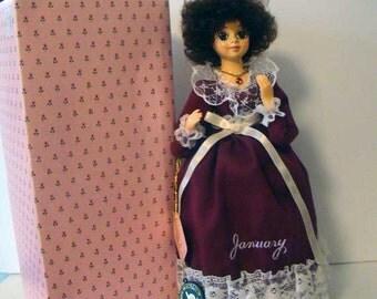 January birthstone doll, garnet birthstone, January doll, musical doll, birthday doll, Brinns January doll, music box, Brinns musical doll