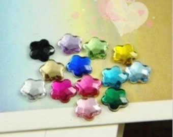 300 PCS color pentagram Cabochon Cover Cabs Charm Findings acrylic glass pendant 6mm