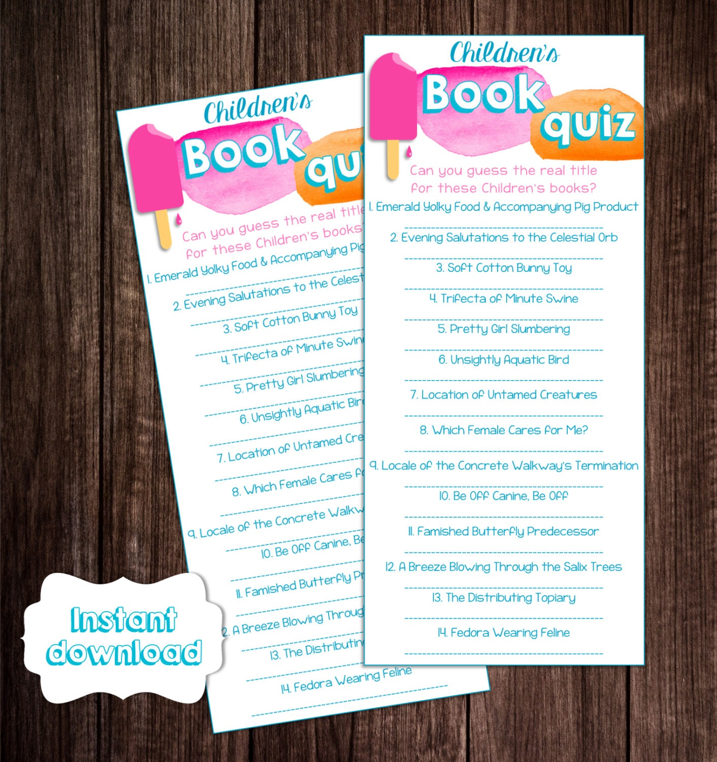 Baby Book Title Quiz Printable Ready To Pop Baby Shower Game