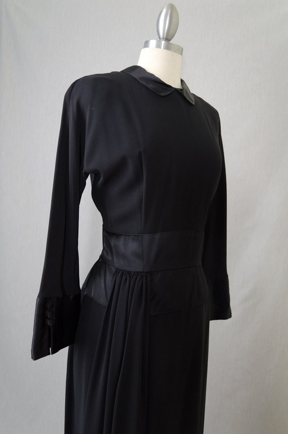 Vintage Black Crepe Dress With Sash and Satin Cuffs Appx Size Small (1940s)
