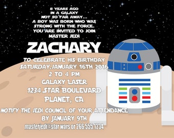 R2D2 Star Wars Birthday Invitation, Personalized Star Wars Invite, Printable High Resolution