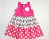 Gray & pink chevron dress**Easter dress**Size 2t, 3t, 4t ready to ship**Tank top dress**Grey chevron dress**Polka dots**spring dress