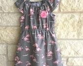 Flamingo dress on sale, clearance**Ready to ship size 7***Grey pink dress**Dress with flamingos**Girls dress size 7, pink flower
