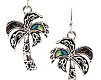 Palm Tree Earrings with Abalone Accents, Palm Tree Jewelry