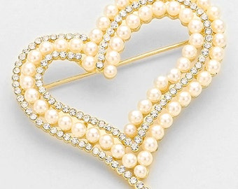 Beautiful Pearl and Crystal Heart Brooch, Pearl Pin, Heart Pin, Valentine Brooch