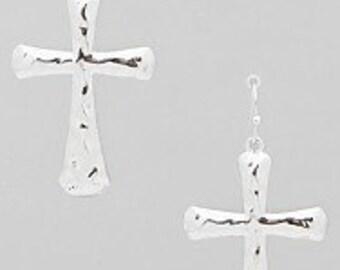 Beautiful Hammered Cross Earrings, Cross Earrings, Silvertone Hammered Cross Earrings