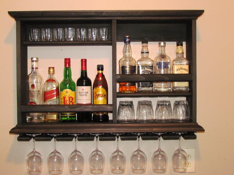 Mini Bar Black Stain Wine Rack 3 X 2 Liquor Cabinet