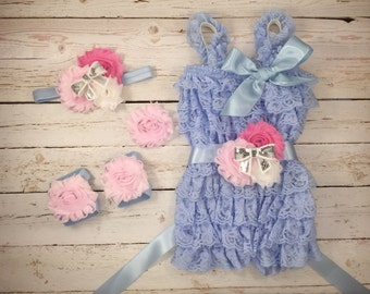 5pc SET- Light pink/ white/ baby blue Romper- Baby Girl Rompers  - Lace Baby Romper / headband / barefoot sandals