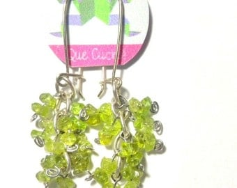 Peridot earrings cluster