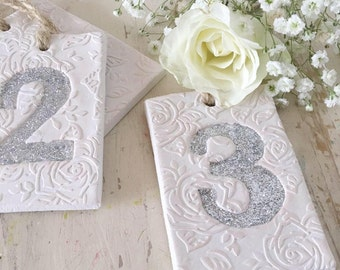 Wedding Clay table number tags