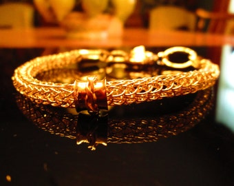 24 K Gold Vermeil Exotic Viking Knit Bracelet with Twisted Wire Spinner Bead