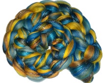 100g Braid - Van Gogh - Combed Top Merino Stellina Sparkle -Silk  - Blue Yellow Orange - Roving Spinning Felting