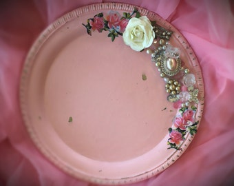Embellished Shabby Chic Pink Painted Metal Serving Platter Plate Beads Jewels Pearls Flower Decoupage Altered Home Dorm Nursery Office Decor