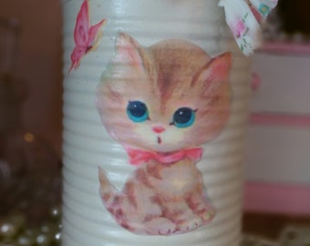 Retro Kitty Tin Can Ivory Vintage Cat Kitten Butterfly Flower Vase Baby Shower Nursery Home Dorm Shabby Chic Decor Party Centerpiece Gift