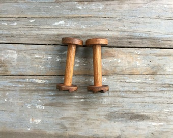 vintage wood spools, medium size industrial wood spools