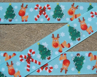 "3 y Reindeer and Christmas tree Ribbon Reindeer Printed Ribbon 7/8"" Hair Bow Ribbon hair bow supplies"