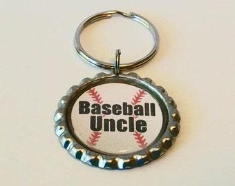 Unique Baseball Uncle Metal Flattened Bottlecap Keychain Great Gift