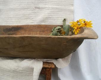 Primitive antique wooden bowl Rustic home decor Large dough bowl Wooden trencher Oversized serving bowl Dark country decor Farmhouse antique