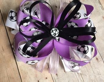 Lavender Soccer Bow, Soccer Ribbon, Soccer Bow, Fast Shipping