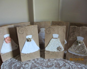 8 Assorted Rustic Bridal Shower Favor Bags, Brown Bag Country Chic Favor Bags, Chic Shower Favors, 3.5x2x6.75 Size Wedding Gift Favor Bags