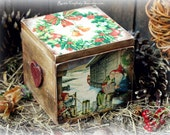 Christmas Decoupage Box Christmas Gift Box Handmade Christmas Box Vintage Christmas Box Rustic Christmas Decor Christmas Decoration
