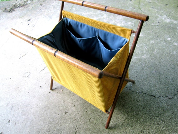 Knitting Bag Stand : Knitting bag with stand vintage folding yarn caddy yellow