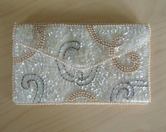 Flapper Handbag Clutch Deco Sequined Purse Ivory White Envelope Style by K & G Charlet