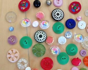 Buttons Art Deco Lot of 48 Multi Colored Plastic/Glass 1960s Retro Mod