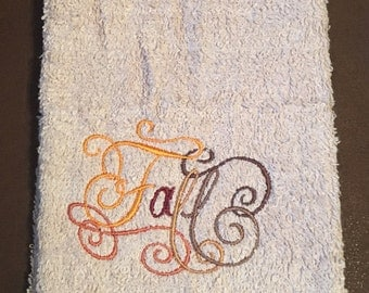 Embroidered ~FALL CALLIGRAPHY~ Kitchen Bath Hand Towel