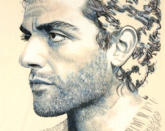 One off, hand-drawn portrait of Oscar Isaac, in charcoal and pastel on calico