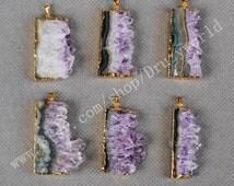 Wholesale Gold Plated Natural Amethyst Slice Pendant Bead One Side Rectangle Amethyst Quartz Slice Craft Purple Gemstone Slice Jewelry G0068