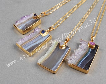 Wholesale Beautiful Gold Plated Natural Amethyst Druzy Slice & Rainbow Druzy Pendant Necklace Amethyst Jewelry Making Jewelry G0354-N