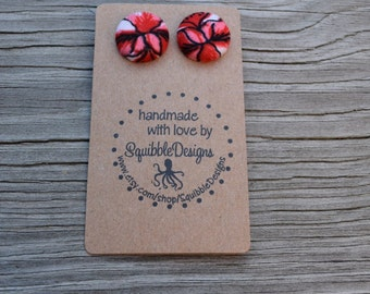 Fabric Covered Button Earrings, Handmade, Tropical Red